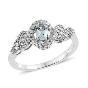 Espirito Santo Aquamarine, Cambodian Zircon Platinum Over Sterling Silver Ring (Size 7.0) TGW 0.88 cts.