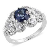 Blue Passion Topaz, Simulated Diamond Platinum Bond Brass Floral Shank Ring (Size 5.0) TGW 3.30 cts.