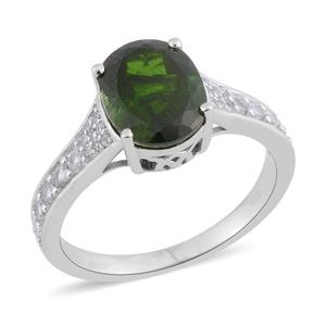 Russian Diopside, White Zircon Sterling Silver Ring (Size 5.0) TGW 3.27 cts.
