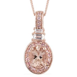 Marropino Morganite, Multi Gemstone Vermeil RG Over Sterling Silver Pendant With Chain (20 in) TGW 1.52 cts.