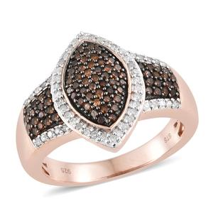 Red Diamond (IR), Diamond Black Rhodium & Vermeil RG Over Sterling Silver Ring (Size 7.0) TDiaWt 0.75 cts, TGW 0.75 cts.