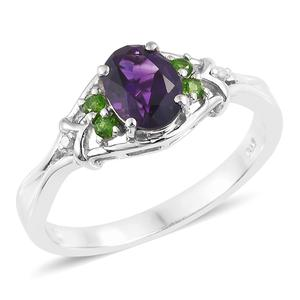 Moroccan Amethyst, Russian Diopside, Diamond Accent Platinum Over Sterling Silver Ring (Size 10.0) TGW 1.36 cts.