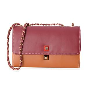 Red and Brown Crossbody Bag (10.1x3.3x6.1 in) with Magnetic Closure