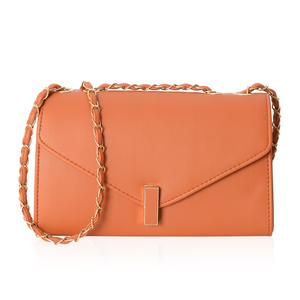 Orange Crossbody Bag (10.1x3.3x6.1 in) with Turn-Lock Closure