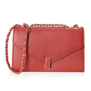 Red Crossbody Bag (10.1x3.3x6.1 in) with Turn-Lock Closure