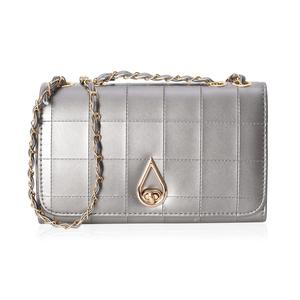Silver Quilted Crossbody Bag (10.1x3.3x6.1 in) with Turn-Lock Closure