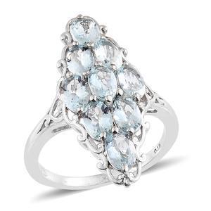Espirito Santo Aquamarine Platinum Over Sterling Silver Ring (Size 7.0) TGW 3.75 cts.