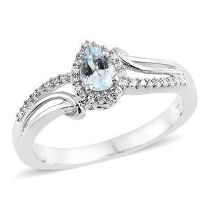 Espirito Santo Aquamarine, Cambodian Zircon Platinum Over Sterling Silver Ring (Size 7.0) TGW 0.61 cts.