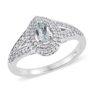 Espirito Santo Aquamarine, Cambodian Zircon Platinum Over Sterling Silver Ring (Size 7.0) TGW 0.85 cts.
