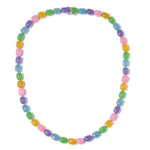 Burmese Multi Color Jade Sterling Silver Necklace (18 in) TGW 126.75 cts.