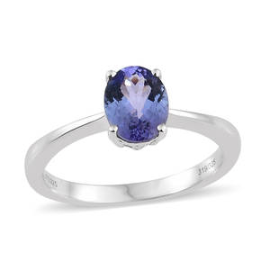 Tanzanite Platinum Over Sterling Silver Oval Cut Solitaire Ring (Size 10.0) TGW 2.10 cts.