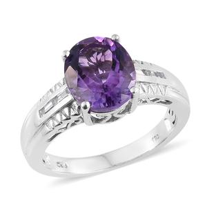Moroccan Amethyst, White Topaz Platinum Over Sterling Silver Ring (Size 7.0) TGW 5.00 cts.