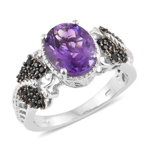 Moroccan Amethyst, Thai Black Spinel Platinum Over Sterling Silver Ring (Size 7.0) TGW 3.96 cts.