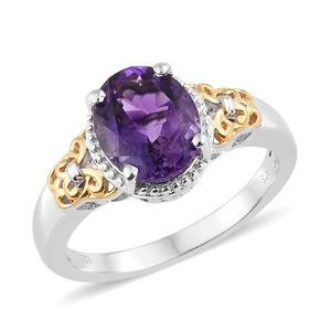 Moroccan Amethyst 14K YG and Platinum Over Sterling Silver Openwork Ring (Size 10.0) TGW 3.50 cts.