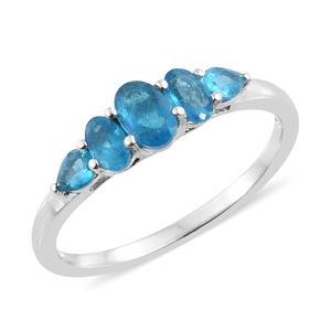 Malgache Neon Apatite Platinum Over Sterling Silver 5 Stone Ring (Size 8.0) TGW 1.19 cts.