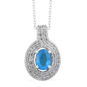 MEGA CLEARANCE Malgache Neon Apatite, Cambodian Zircon Platinum Over Sterling Silver Pendant With Chain (20 in) TGW 1.40 cts.