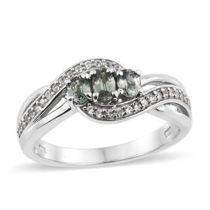 Montana Green Sapphire, Cambodian Zircon Platinum Over Sterling Silver Trilogy Bypass Ring (Size 7.0) TGW 1.12 cts.