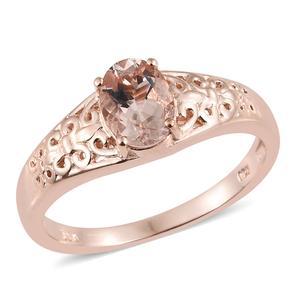 Marropino Morganite Vermeil RG Over Sterling Silver Openwork Solitaire Ring (Size 5.0) TGW 1.15 cts.