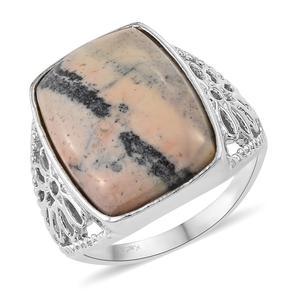 KARIS Collection - Mexican Porcelain Jasper Platinum Bond Brass Ring (Size 7.0) TGW 12.99 cts.