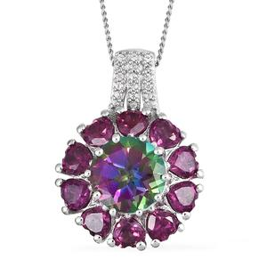 Northern Lights Mystic Topaz, Multi Gemstone Platinum Over Sterling Silver Pendant With Chain (20 in) TGW 4.33 cts.