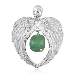Artisan Crafted Green Aventurine Platinum Bond Brass Wing Heart Inner Drop Pendant without Chain TGW 35.00 cts.