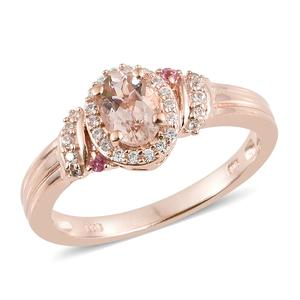 Marropino Morganite, Multi Gemstone Vermeil RG Over Sterling Silver Ring (Size 7.0) TGW 1.02 cts.