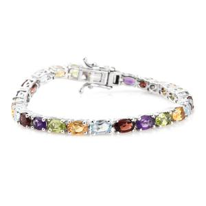 Multi Gemstone Platinum Over Sterling Silver Bracelet (6.50 In) TGW 12.34 cts.