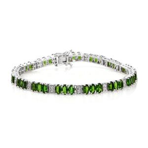 Russian Diopside, Cambodian Zircon Platinum Over Sterling Silver Station Bracelet (7.75 In) TGW 12.15 cts.