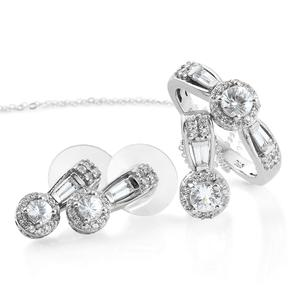 Natural White Zircon Platinum Over Sterling Silver Earrings, Ring (Size 7) and Pendant With Chain (20 in) TGW 3.60 cts.