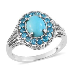 Arizona Sleeping Beauty Turquoise, Malgache Neon Apatite Platinum Over Sterling Silver Ring (Size 5.0) TGW 2.70 cts.