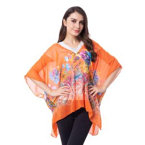 Orange 100% Polyester Floral and Paisley Pattern Sheer Poncho with Crochet Sequin V-Neck (One Size)