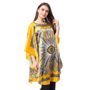 Yellow Flower Pattern 100% Polyester Poncho (44.5x37 in)
