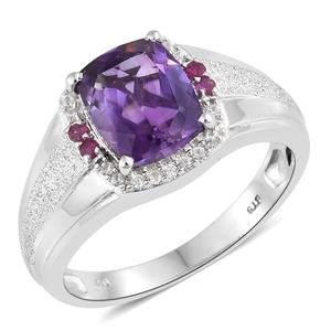Moroccan Amethyst, Multi Gemstone Platinum Over Sterling Silver Men's Signet Ring (Size 12.0) TGW 4.54 cts.