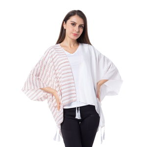 White Solid and Stripe Pattern 100% Polyester Kimono with Tassles (38.59x29.76 in)