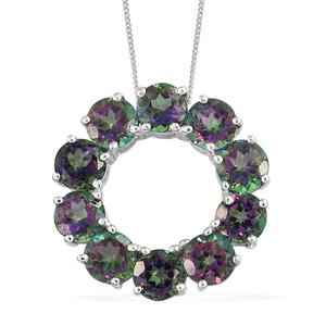 Northern Lights Mystic Topaz Platinum Over Sterling Silver Circle Pendant With Chain (20 in) TGW 10.65 cts.