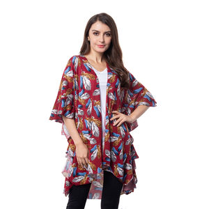 Wine Red Feather Pattern 100% Polyester Kimono (32.68x32.68 in)