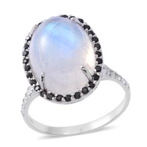 Rainbow Moonstone, Multi Gemstone Sterling Silver Ring (Size 7.0) TGW 9.49 cts.