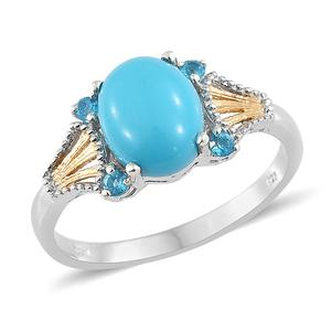Arizona Sleeping Beauty Turquoise, Malgache Neon Apatite 14K YG and Platinum Over Sterling Silver Ring (Size 7.0) TGW 2.65 cts.