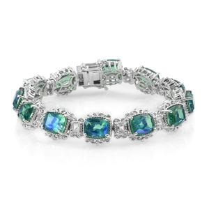 Peacock Quartz, White Topaz Platinum Over Sterling Silver Bracelet (7.25 In) TGW 29.86 cts.