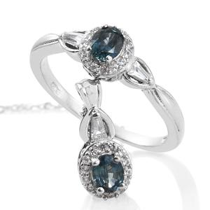 Montana Sapphire, Cambodian Zircon Platinum Over Sterling Silver Ring (Size 7) and Pendant With Chain (20 in) TGW 1.48 cts.