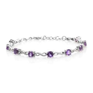 Moroccan Amethyst, Cambodian Zircon Platinum Over Sterling Silver Infinity Station Bracelet (7.25 In) TGW 4.73 cts.