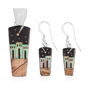 Santa Fe Style Black Onyx, Multi Gemstone Sterling Silver Earrings and Pendant without Chain TGW 7.00 cts.