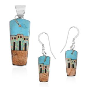 Santa Fe Style Picture Jasper, Multi Gemstone Sterling Silver Earrings and Pendant without Chain TGW 7.50 cts.