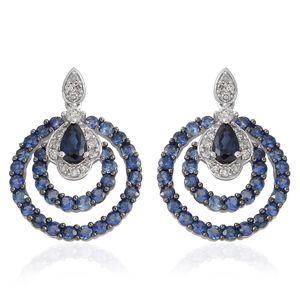 14K WG Madagascar Blue Sapphire, Diamond Earrings TDiaWt 0.21 cts, TGW 2.16 cts.