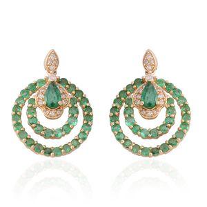 14K YG Brazilian Emerald, Diamond Earrings TDiaWt 0.21 cts, TGW 1.73 cts.
