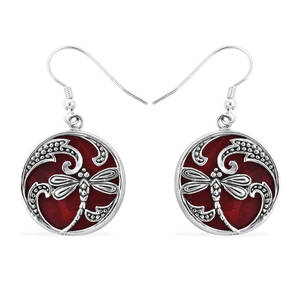 Bali Legacy Collection Coral Sterling Silver Dragonfly Earrings TGW 12.00 cts.
