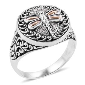 Bali Legacy Collection 18K YG Natural White Zircon Sterling Silver Dragonfly Ring (Size 7.0) TGW 0.14 cts.