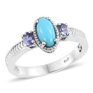 Arizona Sleeping Beauty Turquoise, Tanzanite Platinum Over Sterling Silver Ring (Size 10.0) TGW 1.30 cts.