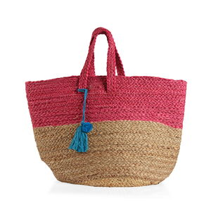 Pink 100% Jute Hand Braided Handbag with Removable Pom Pom Tassel (18x10x14 in)