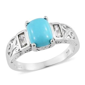 Arizona Sleeping Beauty Turquoise, White Topaz Platinum Over Sterling Silver Ring (Size 8.0) TGW 3.00 cts.